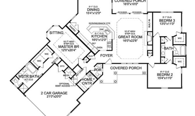 Eplans Country House Plan Angled Ranch Boasts Dramatic Interior