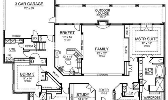 European House Plan Bedrooms Baths