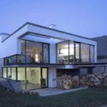 Evening Lighting Contemporary Split Level Home Aalen Germany