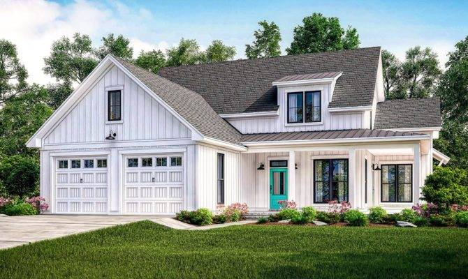 Exclusive Modern Farmhouse Plan Flexible Upstairs