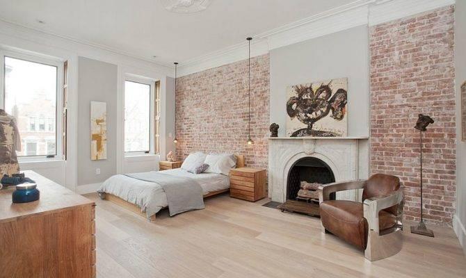 Exposed Brick Walls Classic Fireplace Inside Scandinavian