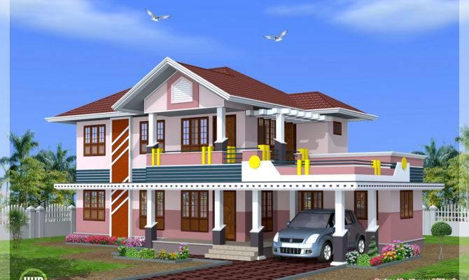 Feet Bedroom Sloped Roof House Design Kerala