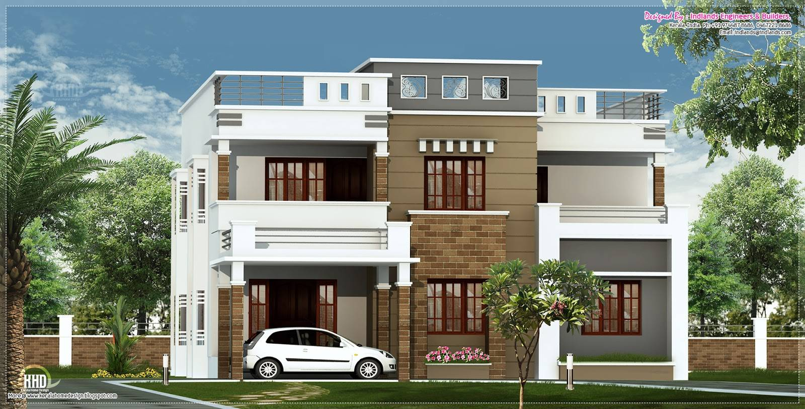 Feet Flat Roof Villa Elevation Kerala Home Design Floor Plans Home Plans Blueprints 39771