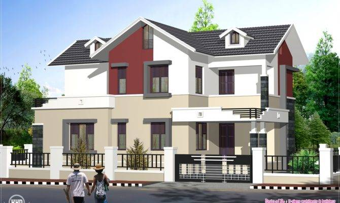 Feet Sloping Roof Style Home House Design Plans