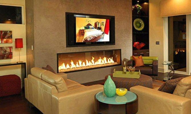 Fireplace Dominates Contemporary Living Room Hgtv