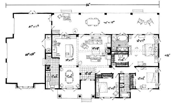 First Floor Plan Bungalow Craftsman Ranch House