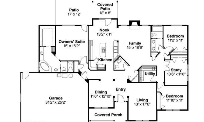 Five Bedroom Ranch House Plans Bath Floor