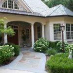 Flagstone Walkway Leads Front Porch Four Round Columns