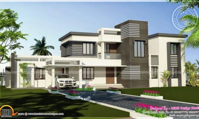 Flat Roof Contemporary Home Square Feet Kerala Design