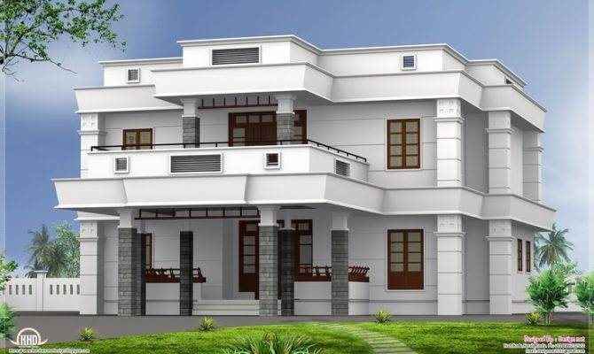 Flat Roof Homes Designs Bhk Modern House Design Home Plans Blueprints 70306
