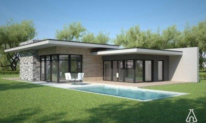 Flat Roof Style Homes Modern House Plans One Story