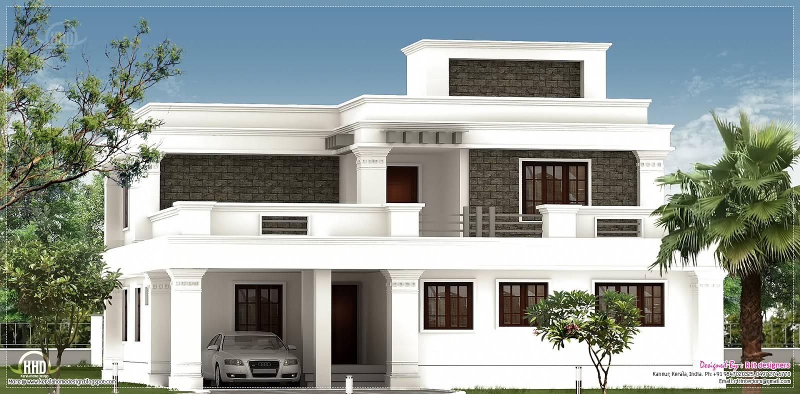 Flat Roof Villa Exterior Feet Kerala Home Design Home Plans Blueprints 86070