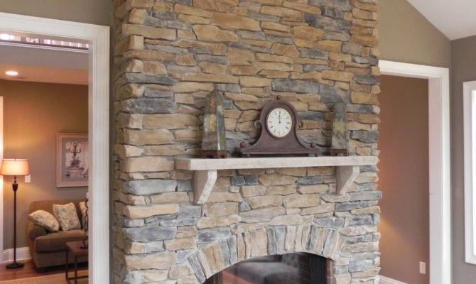 Floor Ceiling Stone Fireplace Divides Rooms Maybe