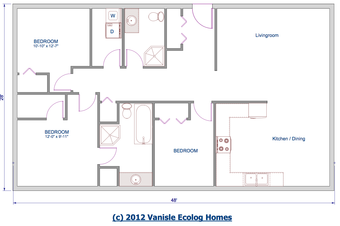 Floor Plan Single Level Log Home Rancher Bungalow Style Home