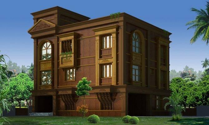 Four Floored Wooden Home Design Veeduonline