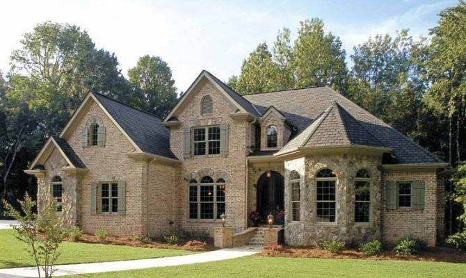 French Country Inspired Homes Rustic Look Brick Wall Grey Roof