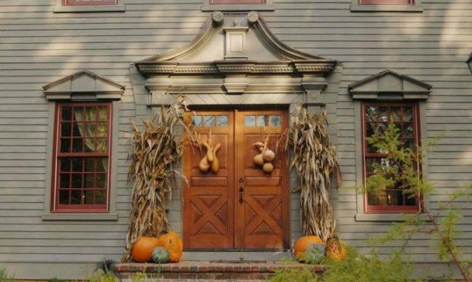 Front Door Classic Colonial Home Pumpkins Pinterest