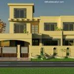 Front Elevation Kanal House Plan Wapda Town