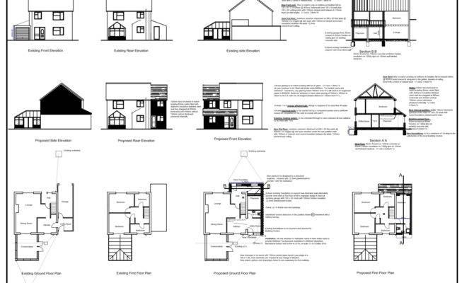 Front Side Elevation Sectional Plan Floor
