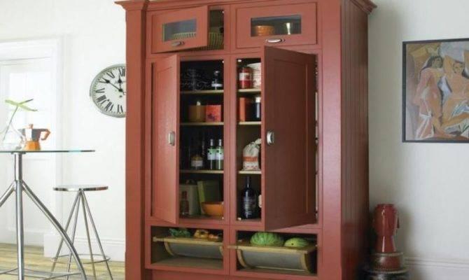 Furniture Large Brown Wooden Kitchen Pantry Cabinet