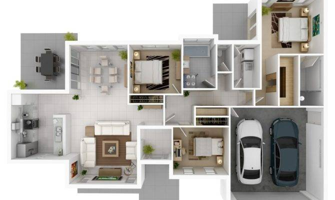 Gives Three Bedroom Design Space Two Car Garage