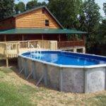 Great Portable Pool Wooden Style Small Deck Design Backyard