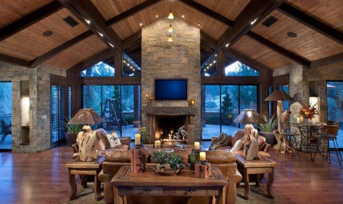 Great Room Fireplace Living Rustic