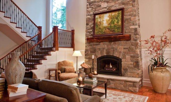 Great Room Fireplace Open Stairs