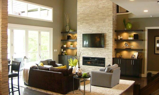 Great Room Stone Fireplace Folding Window Doors