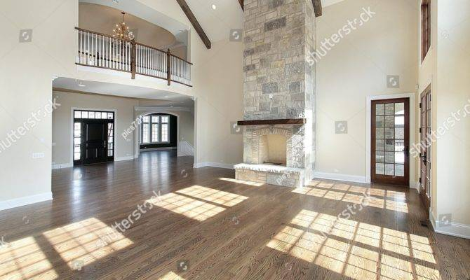 Great Room Two Story Stone Fireplace