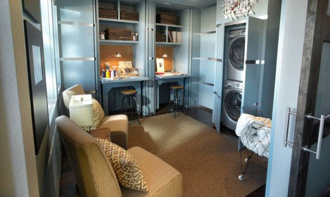 Green Home Laundry Room Office Hooked Houses