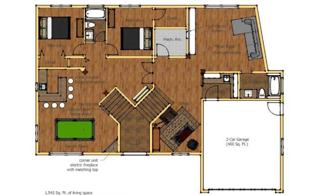 Ground Floor Plan Games Room Bar Option Enlarge