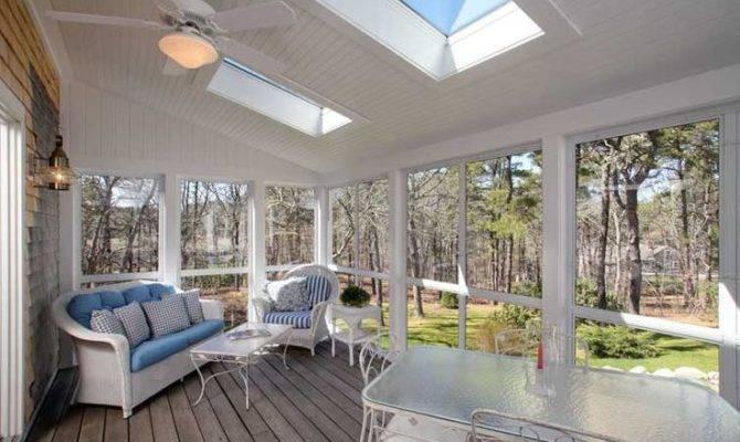 Hardwood Floor Walls Windows Sunny Porch Room