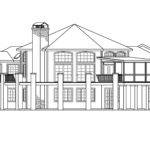 Hexagonal House Plan Hillview Rear Elevation