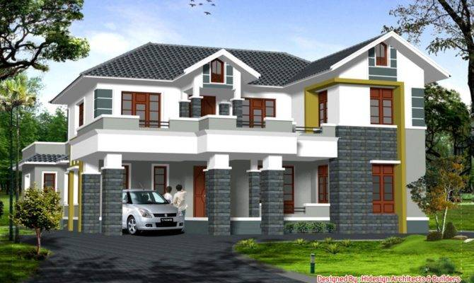 Home Design Bedroom Sloping Roof House Elevation Cool