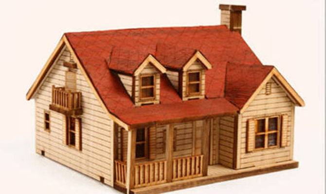 House Chimney Wooden Model Kit Western Style Miniature
