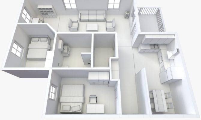 House Floor Plan Non Textured Version Model