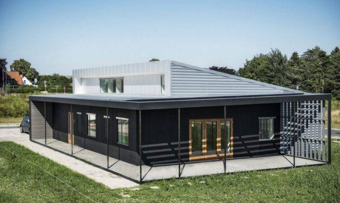 House Large Shipping Container Home Plans Black Grey Color