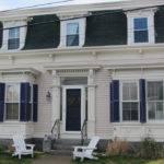 House Mansard Roof Purple Shutters Man