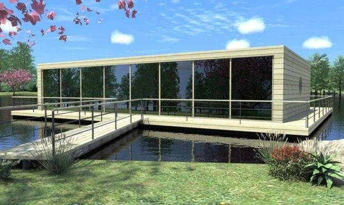 House Modern Lake Plans Large Glass Windows