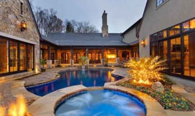 House Plans Interior Courtyards Pool Design Ideas