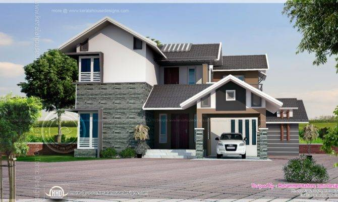 House Plans Simple Elevation Slope Roof