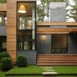 House Wooden Material Exterior Simple Rectangular Shape Olpos Design
