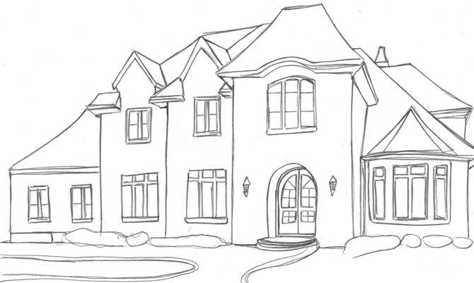 Houses Dream House Sketches Basic Outline Drawing