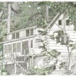 Idaho Log Cabin Drawing Fine Art Print