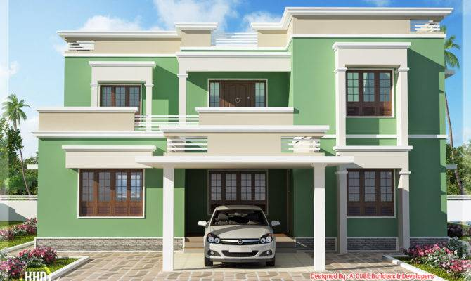 Indian Flat Roof Villa Feet Kerala Home