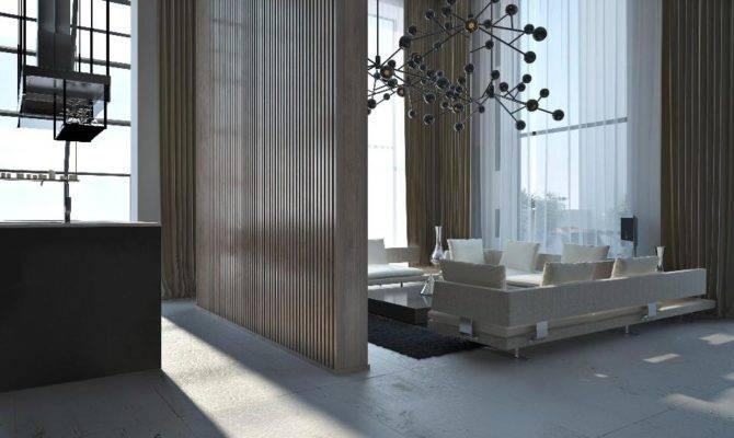 Industrial Living Space Boasts Modern Sculptured Light Fixture