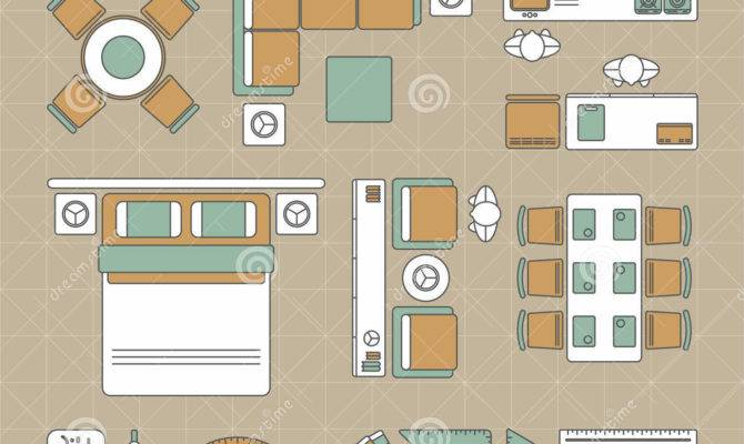 Interior Design Layout Tools Vector Illustration