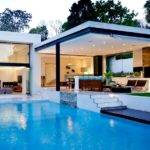 Interior Designs Luxury Flat Roof House Design Blue Pool Open Patio