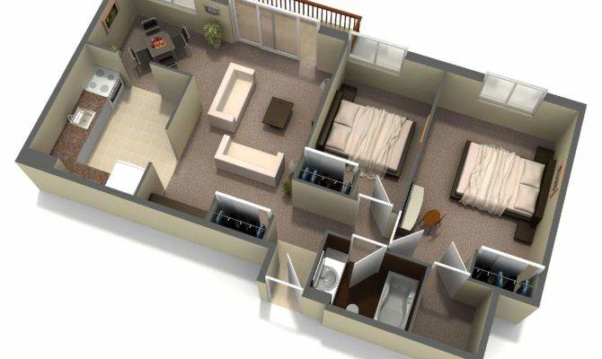 Interior Two Bedroom House Layout Design Plans